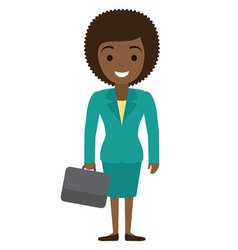 afro american businesswoman character with case in vector image