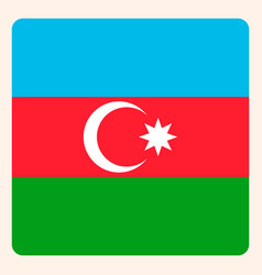 azerbaijan square flag button social media vector image