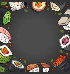 background with different japan sushi and space vector image