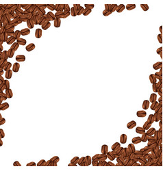 background with realistic coffee beans and copy vector image