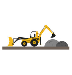 Backhoe and gravel on construction zone vector