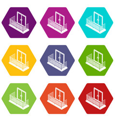 balcony with metal fencing icons set 9 vector image