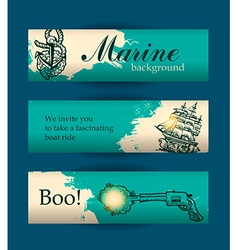 Banners for sites on the marine theme vector