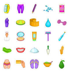 Beauty product icons set cartoon style vector