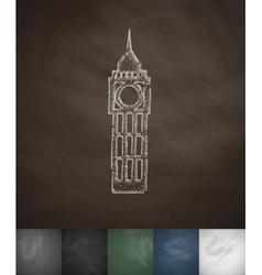 Big ben icon hand drawn vector