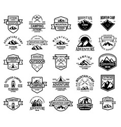 big set mountain camp outdoor adventure vector image
