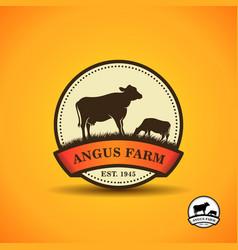 black angus logo design template cow farm logo vector image