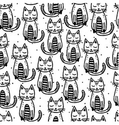 black cats on white background seamless vector image