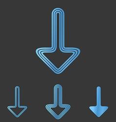 Blue line down logo design set vector