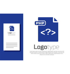 Blue php file document download php button icon vector