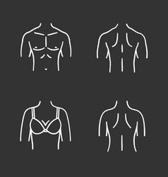 body parts chalk icons set vector image