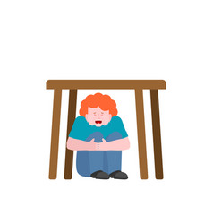 Boy is under table baby scared vector