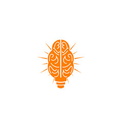 brain bulb lamp logo smart idea download vector image