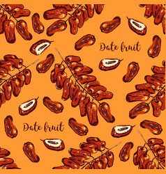 Branch dates seamless pattern dates fruits vector