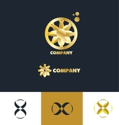 Bstract sign gold flower logo vector