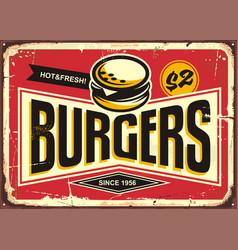 Burgers vintage tin sign vector