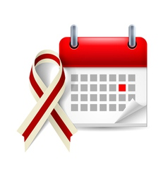 Burgundy and ivory awareness ribbon and calendar vector
