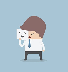 Businessman hide his tired face by holding smile m vector image