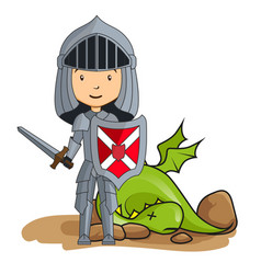 cartoon knight victorious over the dragon vector image