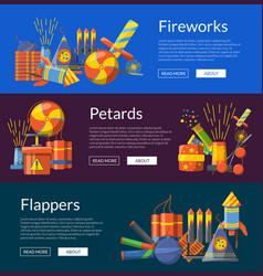 cartoon pyrotechnics banners vector image