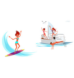 cartoon set of girl surfing and smiling vector image
