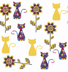 cats abstract seamless pattern it is located in vector image