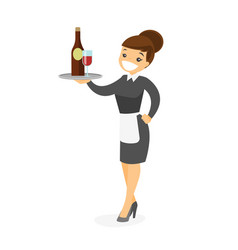 Caucasian white waitress holding tray with wine vector