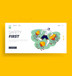 Character is attacked with jellyfish landing page vector