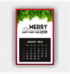christmas happy new year 2019 calendar january vector image
