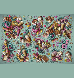 Colorful doodle cartoon set of ice-cream vector