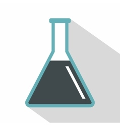 Conical flask test tube with oil icon flat style vector
