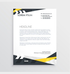 Creative letterhead template with yellow and vector