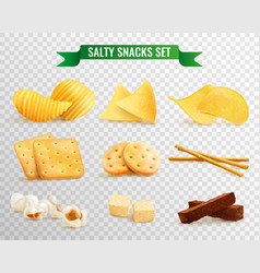 Crispy snacks transparent set vector