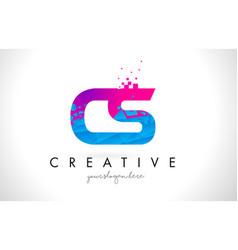 cs c s letter logo with shattered broken blue vector image