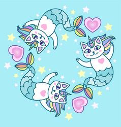 cute cat mermaid vector image