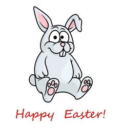 Cute little grey Happy Easter bunny vector image