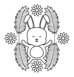 Cute little rabbit with flowers and feathers frame vector
