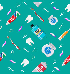 Dental cleaning tools seamless pattern vector