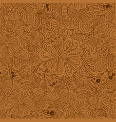 doodle floral seamless pattern brown tones vector image