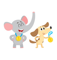 elephant and dog puppy characters champions with vector image