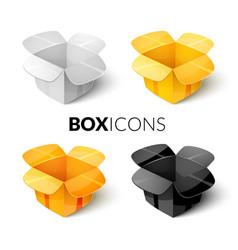 Empty cardboard packaging open box icon in vector