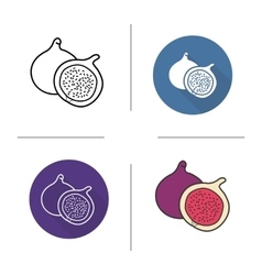 Fig flat design linear and color icons set vector image