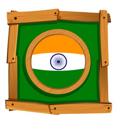 Flag of india in wooden frame vector