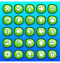 Game green buttons set vector