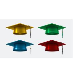Graduation cap realistic isolated vector