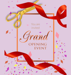 Grand opening event lettering with scissors and vector
