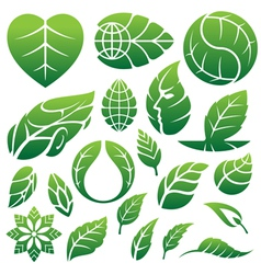 Green leaf icon set vector