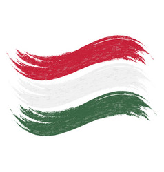 Grunge brush stroke with national flag of hungary vector