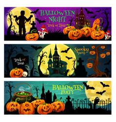 Halloween night party banner with spooky house vector