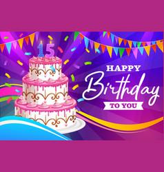 Happy birthday greeting card fifteen years vector